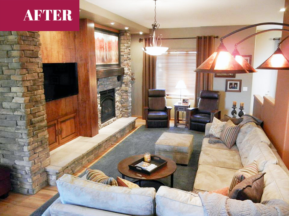 Before Amp After An Outdated Living Room Turned Rustic