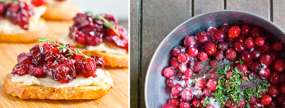 Roasted Balsamic Cranberry and Brie Crostini